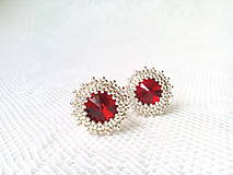 Náušnice - Wild cherries II. (Rhodium earrings / Swarovski crystal) - 6144351_
