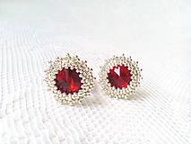 Náušnice - Wild cherries II. (Rhodium earrings / Swarovski crystal) - 6144355_