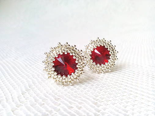 Wild cherries II. (Rhodium earrings / Swarovski crystal)