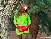 Mikiny - Dámska mikina s kapucou farbená a maľovaná MACHOVIENKA - 6143014_