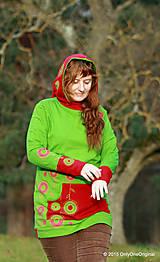 Mikiny - Dámska mikina s kapucou farbená a maľovaná MACHOVIENKA - 6143025_
