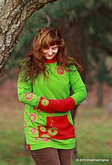 Mikiny - Dámska mikina s kapucou farbená a maľovaná MACHOVIENKA - 6143040_