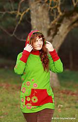 Mikiny - Dámska mikina s kapucou farbená a maľovaná MACHOVIENKA - 6143054_
