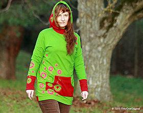 Mikiny - Dámska mikina s kapucou farbená a maľovaná MACHOVIENKA - 6143057_