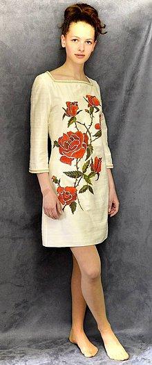 Šaty - Hodvábne šaty s maľovanými ružami-Zľava 30 %!!! - 6143405_