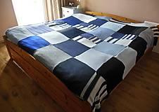Úžitkový textil - Modrá prikrývka na dvojpostel - 6142866_