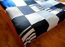 Úžitkový textil - Modrá prikrývka na dvojpostel - 6142868_