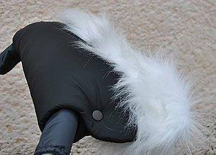 Detské doplnky - Rukávnik čierny s bielou kožušinkou a minky - 6149233_