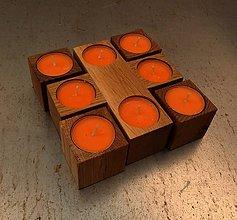Svietidlá a sviečky - Sada dubových svietniků - 6147493_
