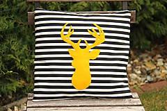 Úžitkový textil - Vankúš žltý jeleň - 6147798_