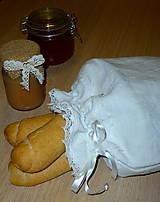 Úžitkový textil - ľanové vrecko na chlieb - 6147278_
