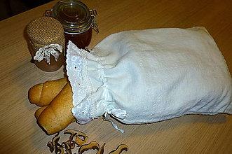 Úžitkový textil - ľanové vrecko na chlieb - 6147292_