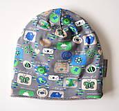 Detské čiapky - detská čiapka oteplená obrázky šedé - 6147230_