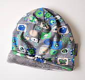 Detské čiapky - detská čiapka oteplená obrázky šedé - 6147232_