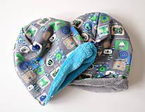 Detské čiapky - detská čiapka oteplená obrázky šedé - 6147233_