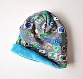 Detské čiapky - detská čiapka oteplená obrázky šedé - 6147249_