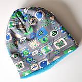 Detské čiapky - detská čiapka oteplená obrázky šedé - 6147251_