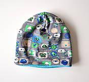 Detské čiapky - detská čiapka oteplená obrázky šedé - 6147252_