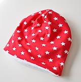 Detské čiapky - detská čiapka oteplená červená s hviezdičkami - 6147256_