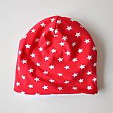 Detské čiapky - detská čiapka oteplená červená s hviezdičkami - 6147257_