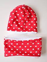 Detské čiapky - detská čiapka oteplená červená s hviezdičkami - 6147280_