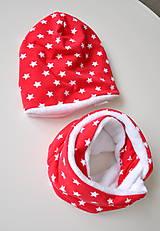 Detské čiapky - detská čiapka oteplená červená s hviezdičkami - 6147287_