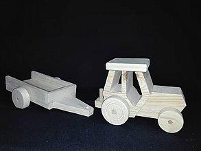 Hračky - Drevený traktor z vlečkou - 6146486_
