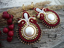 - Soutache náušnice Gold Burgundy - 6151638_