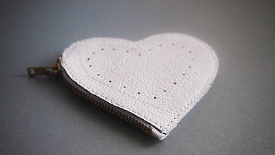 Peňaženky - Srdcovka na mince sněhová - 6152100_