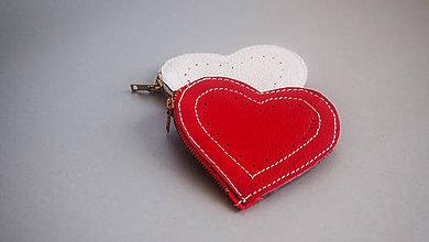 Peňaženky - Srdcovka na mince kožená peňaženka karkulka - 6152109_
