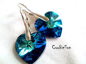 Náušnice - Náušnice Swarovski Heart Bermuda Blue - 6151874_