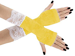 Rukavice - Rukavice zamatové žlté s čipkou 04S - 6157493_