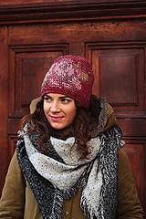 Čiapky - ruženka zimná bordová - 6153348_