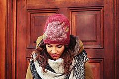 Čiapky - ruženka zimná bordová - 6153349_