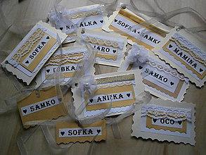 Papiernictvo - Vianočné menovky - zlaté - 6153793_