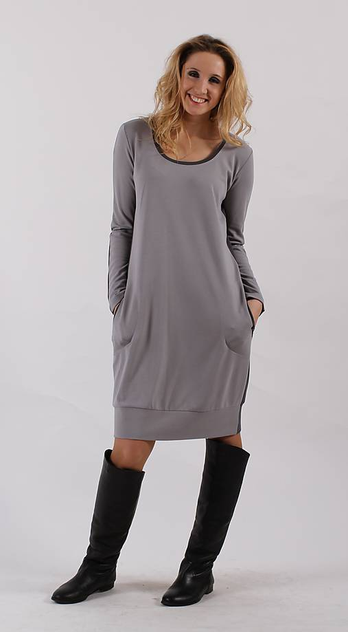 Šedé šaty   ladeesse - SAShE.sk - Handmade Šaty 60cf9d59f2