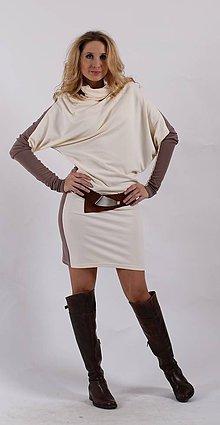 Šaty - Asymetrické šaty s rolákem - béžovosmetanové - 6159518  07909f06fc1