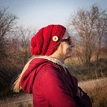 Čiapky - Červená s gombíkom - 6160934_