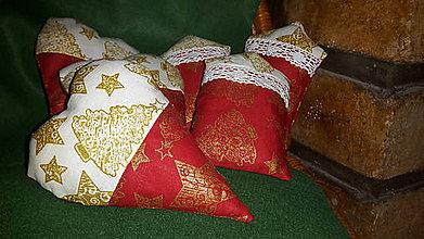 Dekorácie - Vianočné  ozdoby červeno  smotanový  mix - 6160855_