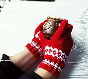 Rukavice - Červené prstové rukavice - 6161173_