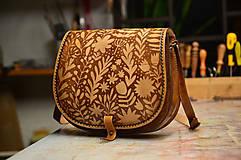 - kabelka kožená lovecká /saddle bag ARTEMIS, vzor Svätojánska, hnedá - 6161457_