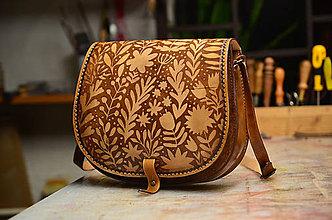 Kabelky - kabelka kožená lovecká /saddle bag ARTEMIS, vzor Svätojánska, hnedá - 6161457_