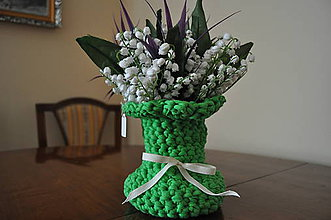 """Dekorácie - Zelená """"čipkovaná"""" vázička - 6160932_"""