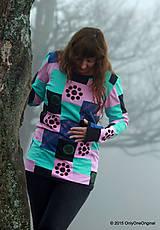 Tričká - Dámske patchworkové tričko maľované MÄTOVÁ HMLA - 6158121_