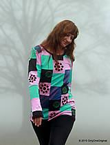 Tričká - Dámske patchworkové tričko maľované MÄTOVÁ HMLA - 6158132_
