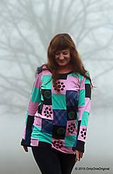 Tričká - Dámske patchworkové tričko maľované MÄTOVÁ HMLA - 6158156_