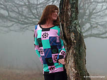 Tričká - Dámske patchworkové tričko maľované MÄTOVÁ HMLA - 6158165_