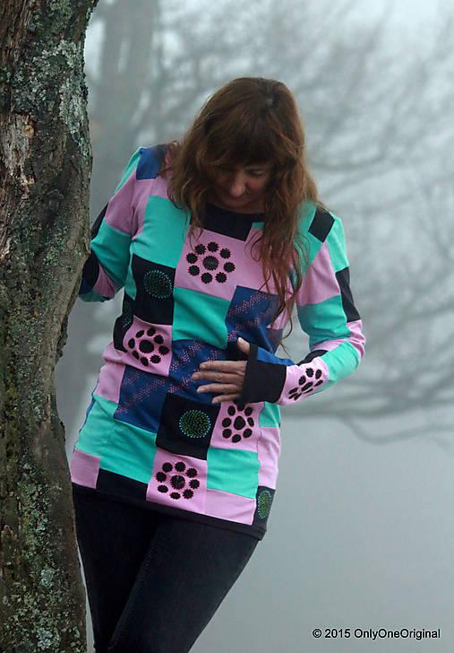 Dámske patchworkové tričko maľované MÄTOVÁ HMLA