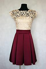 Šaty - Spoločenské šaty vo vintage štýle s hrubou krémovo-zlatistou krajkou - 6159079_