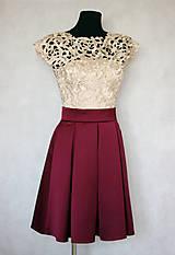 Šaty - Spoločenské šaty vo vintage štýle s hrubou krémovo-zlatistou krajkou - 6159080_